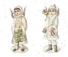 Lot De 2 Découpis : Petite Fille Ange, Sapin Noel - Enfants