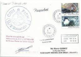 YT 91 Eléphant De Mer - YT 90 Manchot Adélie - Posté à Bord De L'Astrolabe - Dumont D'Urville Terre Adélie - 06/01/1997 - Terre Australi E Antartiche Francesi (TAAF)