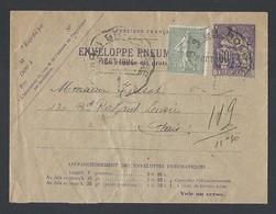 Enveloppe Pneumatique  Type Chaplain 60c Violet Complément Semeuse 15c  8/10/1924 - Letter Cards