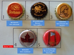 Lot N° 15-1 : 5 Capsules De Bière (parfait état - Pas De Trace De Décapsuleur) Beer - Cerveza - Birra - Bière