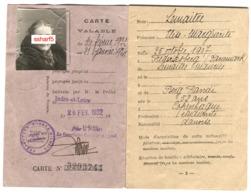 Carte D'identité Etrangers ETUDIANTE DANOISE Indre-et-Loire Affranchie 20 Fr Vert - Historische Documenten