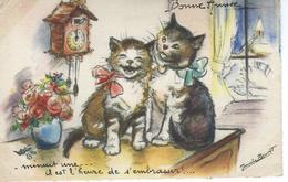 """CPA - Germaine BOURET - Chats, Bonne Année - """"minuit Une... Il Est L'heure """" - BE - - Bouret, Germaine"""
