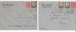 Enveloppes En 1938 Et 1933  De Chiengrai Pour Paris 2 Tarifs Différents - Siam