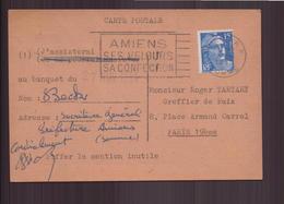France, Carte Postale Invitation Du 8 Novembre 1954 De Amiens Pour Paris - France