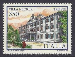 Italia / Italy - 1986 Turistica, Villa Necker Trieste, Ville D'Italia, Tourism, Historical Buildings, MNH - 6. 1946-.. Republik