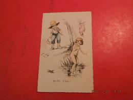 Cpa Enfant (coup De Crayon Germaine Bouret?)sans Signature Dos Nu- Texte Humour-belles Couleurs Pastel - Illustrateurs & Photographes