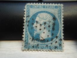 Timbre Napoléon III 20 C - EMPIRE FRANC  N° 22 Oblitéré. Chiffre1. Abîmé. - 1862 Napoléon III
