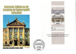 """BRD Schmuck-FDC """"Bedeutende Gebäuder Der Geschichte Der Bundesrepublik Deutschland"""" Mi. Block 20 ESSt 20.7.1986 BONN 1 - FDC: Enveloppes"""