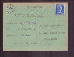 France, Carte Postale Invitation Du 29 Novembre 1957 Pour Paris - France