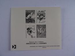 FRANCE - Epreuve Des 4 Timbres OISEAUX De J. J. AUDUBON - Epreuve  Sur Carton  TBE TBE - Sheetlets