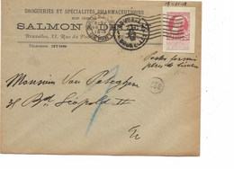 "SH 0434. DECOUPURE EP 10c GR.BARBE C. Mécan. BRUXELLES 16.XI.18 - Manuscrit ""Postes Fermées - Plus De Timbres"". RARE. TB - 1905 Barba Grossa"