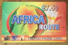 AFRICA ROUTE 7,5 EURO CARTE TÉLÉPHONIQUE À CODE PRÉPAYÉE PUBLIQUE PHONE CARD TÉLÉCARTE - Prepaid Cards: Other