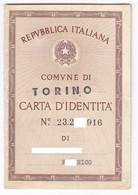 CARTA DI IDENTITA' - ORIGINALE - ANNO 1964 - Vecchi Documenti