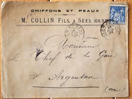 61 - SEES - Chiffons Et Peaux - M. COLLIN Fils - Oblitération 1898 - Postmark Collection (Covers)