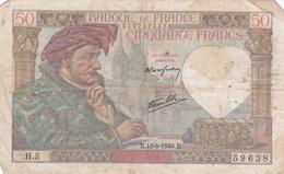 50 Francs 1940 B - 50 F 1940-1942 ''Jacques Coeur''