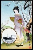 "CPA ANCIENNE JAPON-  ILLUSTRATION FEMME GEISHA TRES GROS PLAN- EN MEDAILLON PAQUEBOT ""MISHIMA MARU""- - Women"