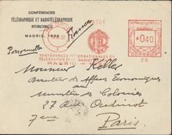 Conférence Internationales De Télégraphie Et Radiotélégraphie Madrid 1932 Enveloppe + Machine à Affranchir EMA 18  9 32 - 1931-50 Covers