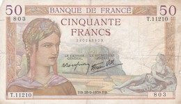50 Francs 1939 - 50 F 1934-1940 ''Cérès''