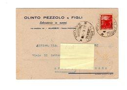 P0366 INTERO POSTALE PUBBLICITARIO OLINTO PEZZOLO E FIGLI LABORATORIO MARMI ALASSIO 1947 DEMOCRATICA L. 3 ISOLATO - 1946-60: Marcophilia