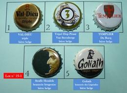 Lot N° 19-1 : 5 Capsules De Bière (parfait état - Pas De Trace De Décapsuleur) Beer - Cerveza - Birra - Birra