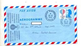 Aerogramme 3.10 Bicentenaire Air Espace Cachet Paris Temporaire  Vol Par Ballon  + Crecy - Postal Stamped Stationery