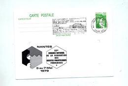 Carte Postale 1.00 Sabine Flamme Nantes Congres Illustré - Postal Stamped Stationery
