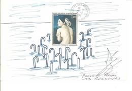 Enveloppe ART POSTAL - MAIL ART - Dessin A La Main  - Baigneuse D' Ingres Beau Cachet De CABANNES   (7 ASO) - Oblitérés