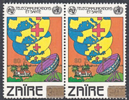 A1322 ZAIRE 1990, SG 1306 80Z Provisional Overprint On Telecommunicatios Issue,  MNH Pair - Zaire