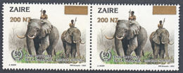 A1553 ZAIRE 1994, SG 1440 200NZ Provisional Syrcharge On Garamba Issue, MNH Pair - 1990-96: Ungebraucht