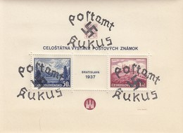 BLOC TCHECOSLOVAQUIE 1937. EXPOSITION PHILATELIQUE DE BRATISLAVA. TRIPLE SURCHARGE POSTAMT KUKUS - Sudeti