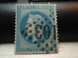 Timbre Empire Français 20 C. Napoléon III  Lauré. 29 B Oblitéré. - 1863-1870 Napoléon III Lauré