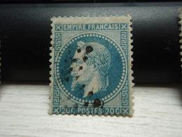 Timbre Empire Français 20 C. Napoléon III  Lauré. 29 A Oblitéré. - 1863-1870 Napoléon III Lauré