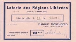 Billet De LOTERIE NATIONALE De 1934 De La Banque ROSENBERG 3 Rue Laffitte Paris (9e) - Voir Description - Billets De Loterie
