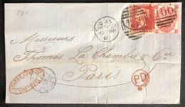 LETTRE Grande Bretagne 1869 N°26 (planche 119) & 33 (planche 5) De Liverpool Pour Paris + PD TTB - Covers & Documents
