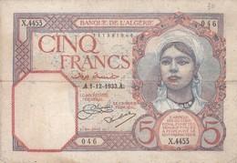 5 Francs 1933 - Algerije