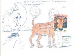 Enveloppe MAIL ART-ART POSTAL- MainVache Pleurant Devant La Tombe De Son Epoux-Cachet De ROGNONAS (15 ASO) - Cartoline Maximum