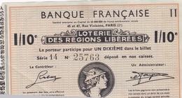 Billet De LOTERIE NATIONALE De 1934 De La Banque Française 45 Et 47 Rue Vivienne Paris (2e) - Voir Description - Billets De Loterie