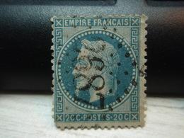 Timbre Empire Français 20 C. Napoléon III  Lauré. 29 B Oblitéré. 2687 - 1863-1870 Napoléon III Lauré