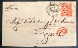 LETTRE Grande Bretagne 1870 N°32 (planche 11) FG/GF De London Pour Lyon + PD TTB - Covers & Documents