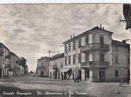 POZZOLO FORMIGARO--ALESSANDRIA-VIA ALESSANDRIA E VIA TORTONA-CARTOLINA VERA FOTOGRAFIA  VIAGGIATA IL 20-8-1954 - Alessandria