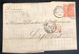 LETTRE Grande Bretagne 1870 N°32 (planche 11) De London Pour Lyon DF/FD + PD TTB - Covers & Documents