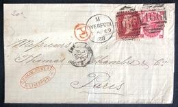 LETTRE Grande Bretagne 1869 N°26 (planche 76) & 33 (planche 5) De Liverpool Pour Paris + PD TTB - Covers & Documents
