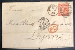 LETTRE Grande Bretagne 1870 N°32 (planche 11) De London Pour Lyon FF/FF + PD TTB - Covers & Documents