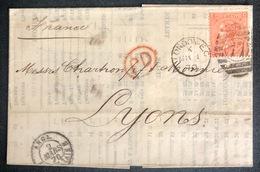 LETTRE Grande Bretagne 1870 N°32 (planche 11) De London Pour Lyon EC/CE + PD TTB - Covers & Documents