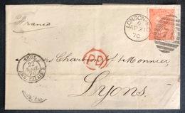 LETTRE Grande Bretagne 1870 N°32 (planche 11) De London Pour Lyon LO/OL + PD TTB - Covers & Documents