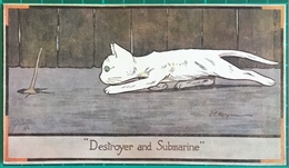 """F. E. Morgan ~ Cat Chasing Mouse ~ """"Destroyer And Submarine""""  ~ Raphael Tuck & Sons, Oilette Postcard - Tuck, Raphael"""