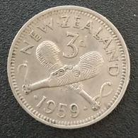 NOUVELLE ZELANDE - NEW ZEALAND - 3 PENCE 1959 - Elisabeth II - KM 25 - Nuova Zelanda