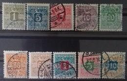 DANEMARK - DENMARK TIMBRES POUR JOURNAUX N° 1 à 10 COTE 180 € OBLITERES SERIE COMPLETE DE 10 VALEURS EN 1907. TB - Used Stamps