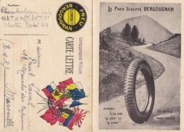 """Correspondance Militaire / Carte Lettre Avec Publicité """" PNEU BERGOUGNAN """". 9 Drapeaux. - Franchise Militaire (timbres)"""