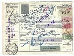 ITALIE 1928: Bulletin D'Expédition De Milan Pour La Suisse Par Chiasso Affranchi à 15,25 Lire, Beaux CAD - Postal Parcels